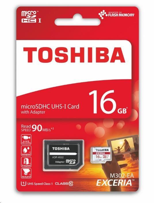 TOSHIBA micro SDHC 16GB paměťová karta UHS-I (U1) (90MB/s) M302, Class 10 + adapter