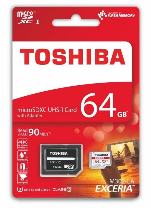 TOSHIBA micro SDXC 64GB paměťová karta UHS-I (U3) (90MB/s) M302, Class 10 + adapter