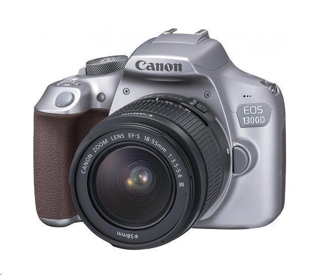 Canon EOS 1300D zrcadlovka - tělo, stříbrné + 18-55mm DC