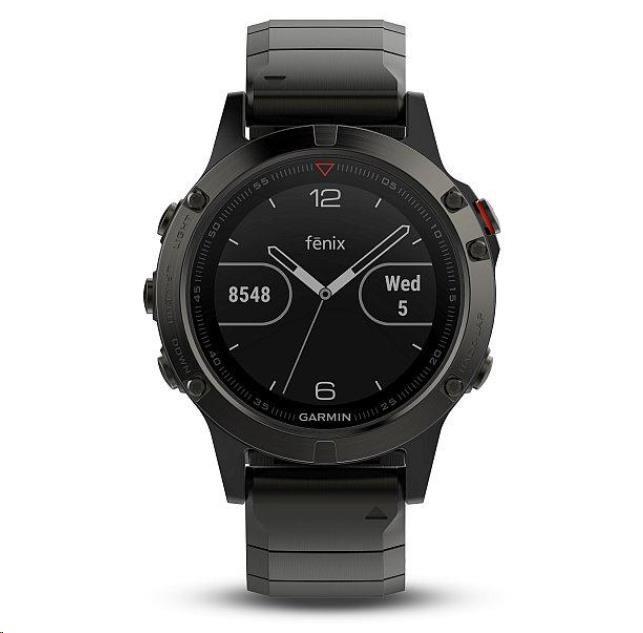 Garmin GPS sportovní hodinky fenix5 Sapphire Gray Optic, kovový řemínek