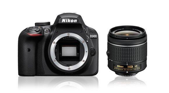 NIKON zrcadlovka D3400 + AF-P 18-55 VR - černý - Rozbaleno