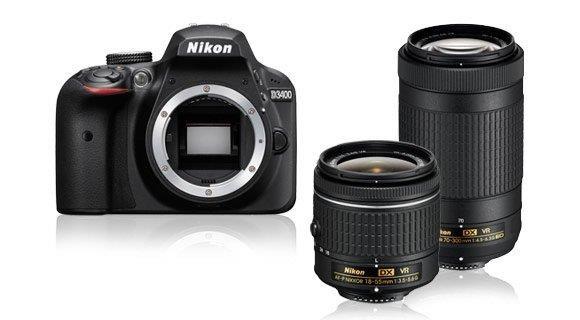 NIKON zrcadlovka D3400 + AF-P 18-55 VR + 70-300 VR - černý - rozbaleno