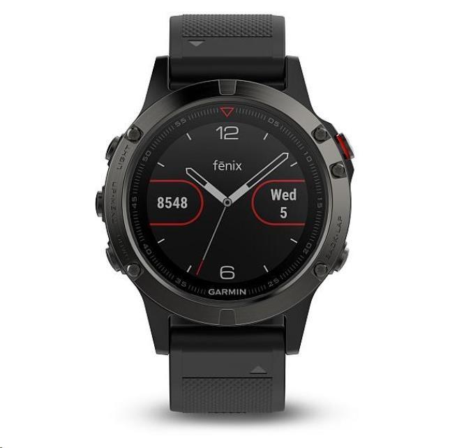 Garmin GPS sportovní hodinky fenix5 Sapphire Gray Optic, černý řemínek