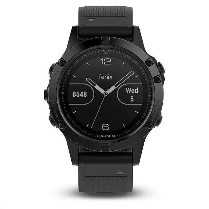 Garmin GPS sportovní hodinky fenix5 Sapphire Black Optic, černý řemínek