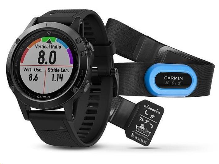 Garmin GPS sportovní hodinky fenix5 Sapphire Black Optic TRI Performer, černý řemínek
