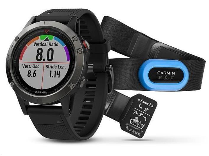 Garmin GPS sportovní hodinky fenix5 Gray Optic TRI Performer, černý řemínek